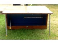 Two portable storage boxes converting to tables