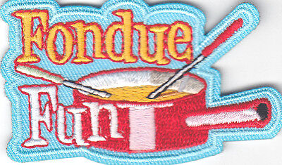 """""""FONDUE FUN"""" Iron On Embroidered Patch Food Entertainment"""