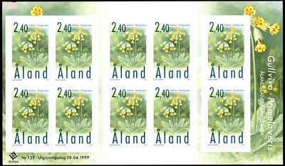 Aland 1999 Flowers, Cowslip, Self Adhesive sheet of 10 stamps, MNH/UNM