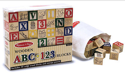 Melissa & Doug 50 Classic Solid Wood Building Blocks w/Pictures Letters Numbers