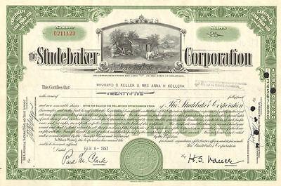 The Studebaker Corporation   auto car stock certificate