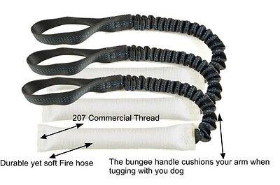 Bundle of 3 White Fire Hose Bungee Dog Tug Toy 16