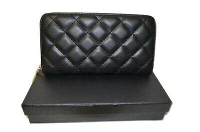 Women's Black Design Inspired Zip Around Quilted Purse Wallet