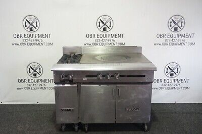 Vulcan 48 Heavy Duty Natural Gas Range 36 French Top With 2 Burners And Cabine
