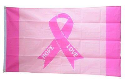 Pink Ribbon Dekoration (Fahne Rosa Schleife - Pink Ribbon Flagge Brustkrebs Hissflagge 90x150cm)