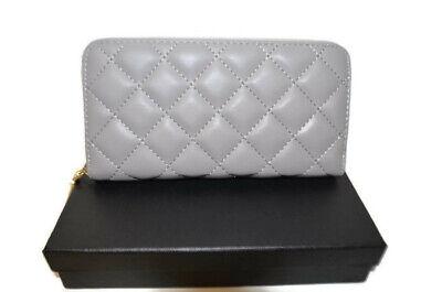 Women's Light Grey Design Inspired Zip Around Quilted Purse Wallet