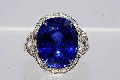 $440,000 13.75Ct AGL Cert Tiffany & Co. Natural Sapphire & Diamond Platinum Ring
