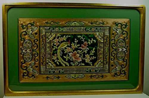 LARGE VINTAGE CHINESE GOLD & SILVER THREAD SILK EMBROIDERY
