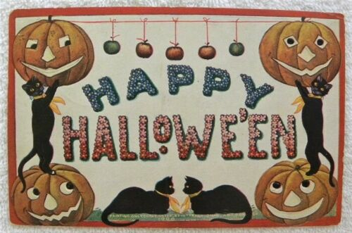 1908 Happy Halloween, JOL Faces, Black Cats, Apples, International Art Pub. pc