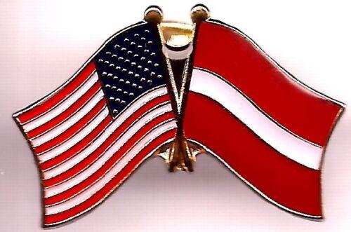 LOT OF 12 Latvia Friendship Flag Lapel Pins - Latvia Crossed Flag Pin