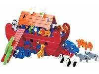 Large wooden Noah's Ark with 11 pairs of animals