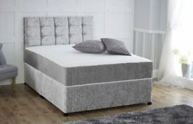 Delivery 7days a week Single Double King Bed Mattress CRUSHED VELVET Diamante Headboard