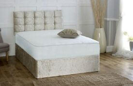 SAME DAY FREE DELIVERY -- BRAND NEW DOUBLE / KING CRUSHED VELVET DIVAN BASE BED+ DEEP QUILT MATTRESS