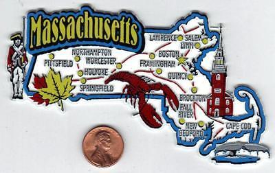 MASSACHUSETTS  STATE MAP JUMBO  MAGNET  2D  BOSTON, CAPE COD, SALEM, WORCESTER