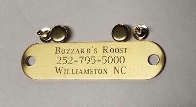 ENGRAVED BRASS ID TAG FOR PET DOG COLLAR NAME PLATE w/ 1 RIVET -