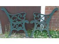 Cast Iron Garden Bench Ends With Classical Design - Lion Rose Fleur-De-Lis