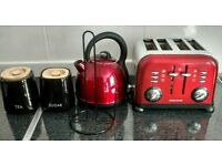 Red kettle, toaster, clock & accessories