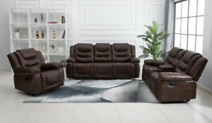 3 PCS AIR LEATHER SOFA SET FURNITURE SET W/ MASSAGE DBL ROCKER