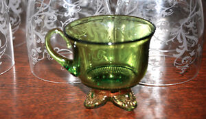 1904 Green Crystal and Silver Footed Child's Tea Cup