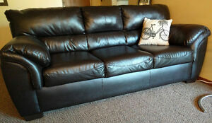Dark brown, faux leather couch - 1.5 yrs old. MOVE OUT - MUST GO