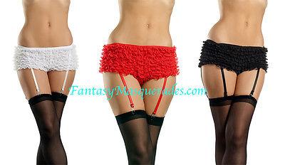 Ruffle Lace Burlesque Panties Boyshorts Rhumba Shorts w/Attached Garter - Garter Boyshorts
