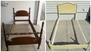 French Provincial Twin Bed & Vintage Cannonball Wooden Bed