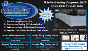 Vinyl Fence Winter Buy Save $$ & FREE INSTALLATION