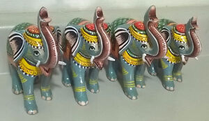 Wooden Hand-Painted Indian Elephant Figurine