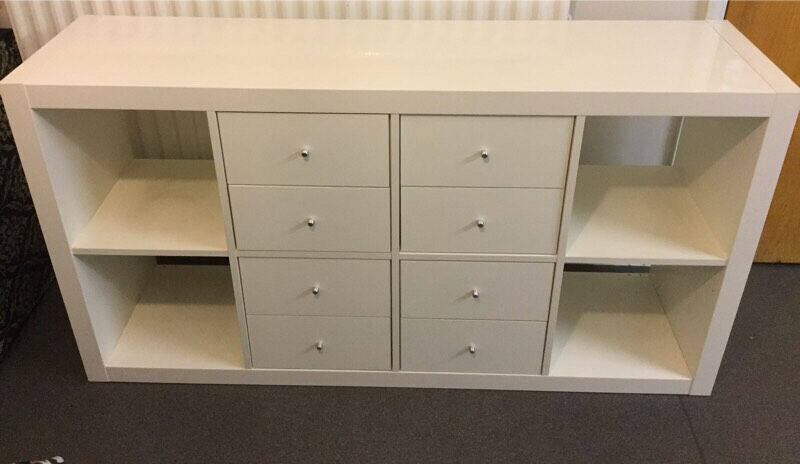 White gloss long cabinet/dresser/chest of drawers