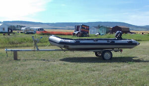 14' ZEBEC INFLATABLE BOAT WITH TRAILER