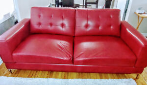 Leather- Like Fabric Red Loveseat