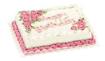 Dollhouse Miniature Happy Birthday Sheet Cake w/Roses by Falcon Miniatures