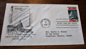 1966 175th Anniversary US Bill of Rights 5 Cent First Day Cover Kitchener / Waterloo Kitchener Area image 4