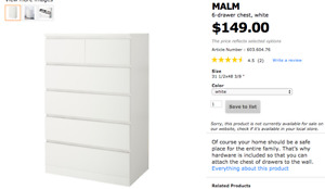 Looking for Malm 6-Drawer Dresser in White