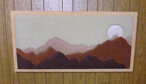 Vintage Fabric Mosaic Wall Art: Mountain-Sunset Soft Art by Stef Kitchener / Waterloo Kitchener Area image 4