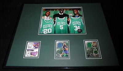 Kevin Garnett Paul Pierce Ray Allen 16x20 Framed Game Used Cards & Photo Set B Black Paul Pierce Frame