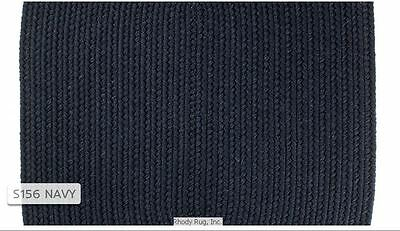 Solid Navy Blue 100% Wool New England Country Home Quality Braided Rug - Navy Solids Braided Rug