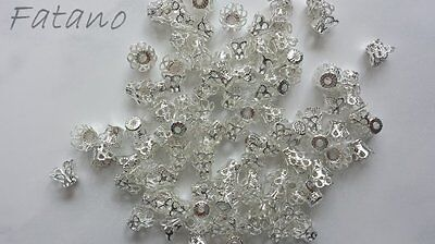 100 filigrane Perlkappen Perlenkappen 9 x7 mm silber Spacer Schmuck basteln 5031