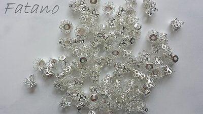 100 filigrane Perlkappen Perlenkappen 9 x7 mm silber Spacer Schmuck basteln G117