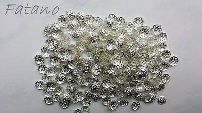 100 filigrane Perlkappen Perlenkappen 6 mm silber Spacer Schmuck basteln H6006