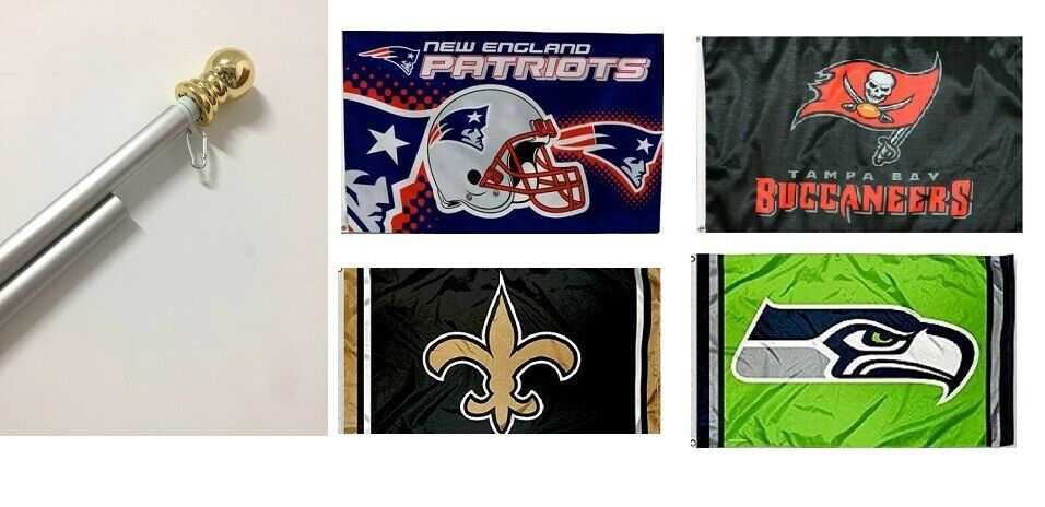 3x5 Large NFL Sport Team Flags & 6 Foot Spinning Tangle Free