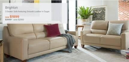 3 Seater Leather Plush Sofas