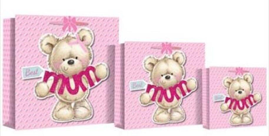 Best Mum Gift Bag Pink Love Hearts Teddy Bear Mothers Day Bi