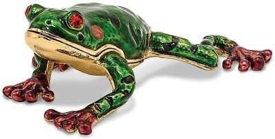 Bejeweled Frog - Bejeweled Green Pond Frog Trinket Box