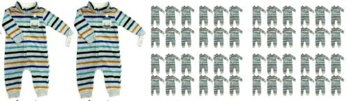 Carter's 6M Baby 1-Piece Striped Zip-Up Fleece Sleep & Play, Walrus-Lot of 50