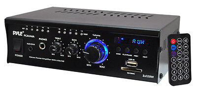 NEW Pyle PCAU46A Mini 2x120 Watt Stereo Power Amplifier With CD/USB/SD/AUX on Rummage