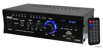PYLE 240W MINI COMPACT POWER AMP AMPIFIER HOME THEATER RECEIVER AUX-IN USB SD
