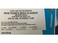 2 TICKETS TO PETE TONG'S IBIZA CLASSICS AT BELVOIR CASTLE JULY 21ST