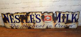 Nestle's Milk 1930s advertising enamel sign garage kitchen vintage retro antique decor pub mancave