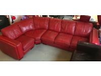 DFS Corner Sofa 6 Seater Red Leather
